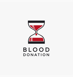 Blood donor time logo template vector