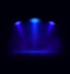 blue spotlights on scene with light beams vector image