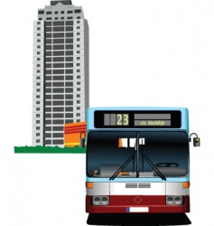 building and bus vector image