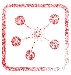 Cardano mining network framed stamp vector