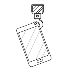 cellphone with crane hook in black and white vector image
