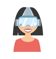 Character girl virtual reality glasses technology vector