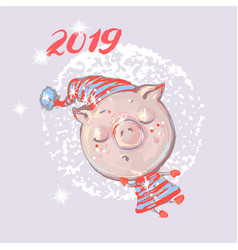 Christmas card cute pig on snow or flying new vector