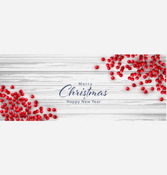 christmas red holly berry on white wooden vector image