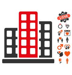 City icon with dating bonus vector