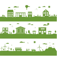 City with cartoon houses green eco panorama vector