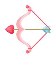 Cupid bow and arrow with heart vector