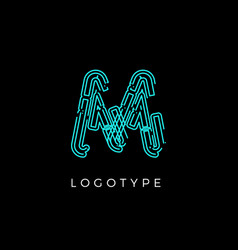 Cyber letter m for digital technology logo concept vector