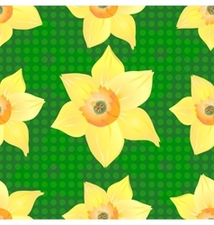 Daffodils on a Beautiful Green Background vector