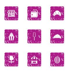 Dessert store icons set grunge style vector