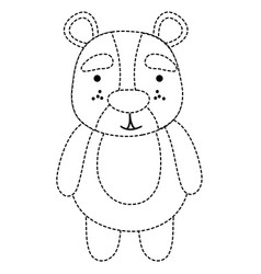 Dotted shape cute and surprised bear wild animal vector