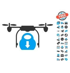 Drone Drop Cargo Icon With Free Bonus vector image