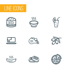 eating icons line style set with pizza olive vector image