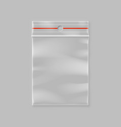 empty transparent plastic zipper bag with hang vector image