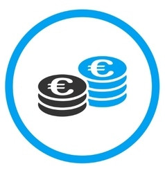 Euro Coin Stacks Circled Icon vector
