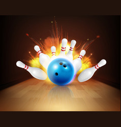 Fire bowling strike composition vector