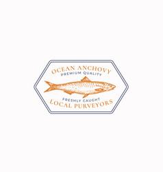 Fish vintage frame badge or logo template hand vector
