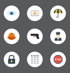 flat icons vision policeman lock and other vector image