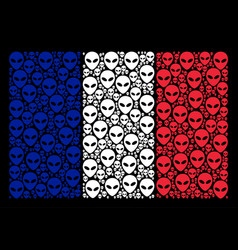 France flag mosaic of alien face icons vector