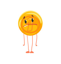 Golden coin character with sad face legs and arms vector