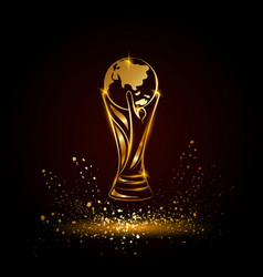 Golden soccer trophy with globe vector