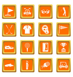 Golf items icons set orange vector
