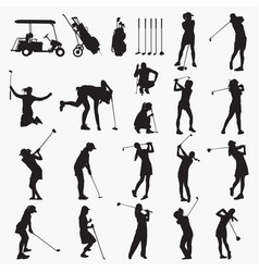 golfer woman silhouettes vector image