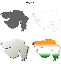 Gujarat blank detailed outline map set vector image vector image