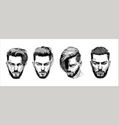hand drawn man hairstyle silhouettes vector image
