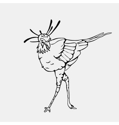 Hand-drawn pencil graphics secretary bird eagle vector
