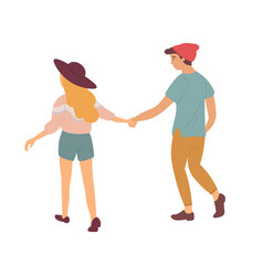 happy people walking holding hands back view vector image