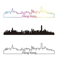 Hong Kong skyline linear style with rainbow vector image