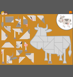 Jigsaw puzzle game with cow vector