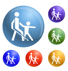 kid guide blind man icons set vector image