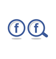 letter f blue circle magnify glass icon vector image