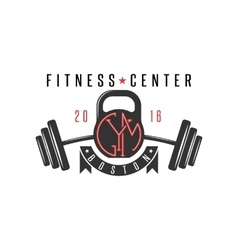 Logo gym hipster kettlebell and athletic barbell vector image