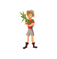 male farmer harvesting crop cartoon vector image