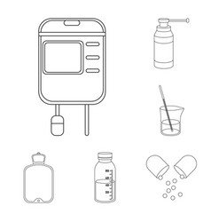 Medicine and treatment outline icons in set vector