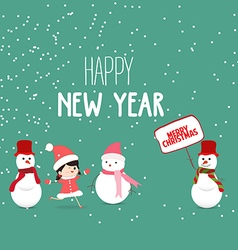 Merry Christmas and New Year Card with snowman vector