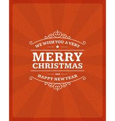 Merry Christmas postcard ornament decoration vector image
