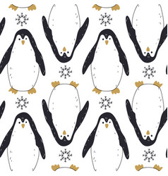 merry christmas seamless pattern with penguins vector image