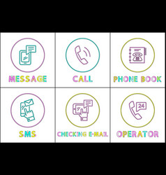 Message and phone book set vector