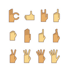 Minimal lineart flat hand gestures iconset ok vector