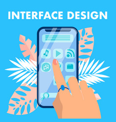 mobile interface design flat banner concept vector image