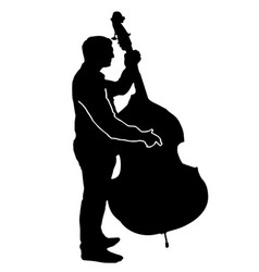 Musician playing a big cello - black silhouette vector