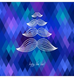 Mustache tree christmas card on geometric vector