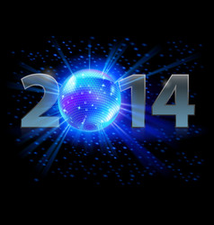 New year 2014 metal numerals with disco ball vector