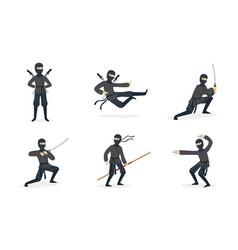 ninja shows tricks set vector image