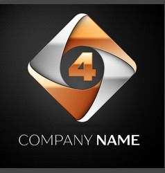 number four logo symbol in the colorful rhombus on vector image