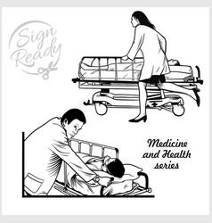 Paramedic medical gurney stock vector
